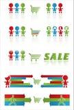 Verkaufsfahne mit Einkaufswagen und lustigen Völkern Lizenzfreies Stockfoto