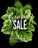Verkaufsfahne, Plakat mit Palmblättern, Dschungelblatt und Handschriftsbeschriftung Tropischer Sommermit blumenhintergrund Vektor stock abbildung