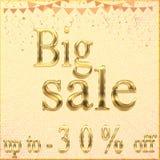 Verkaufsfahnen-Schablonenentwurf, großer Verkauf spezielles bis 30% weg Superverkauf, Sonderangebotfahne des Saisonendes Auch im  vektor abbildung