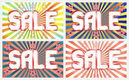 Verkaufsfahnen stellten auf ein helles, Kontrasthintergrund mit dem Ausstrahlen von Strahlen ein Stockbilder