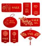 Verkaufsfahnen und -ausweise für chinesisches neues Jahr Stockbild