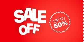 Verkaufsfahnen-Vektorschablone Verkauf weg von bis 50 Lizenzfreies Stockbild