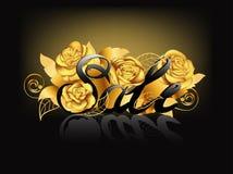Verkaufsfahnenschablone für den Einkauf, Verkaufszeichen, Rabatt, Marketing, verkaufend Kleinaufkleber Goldene Rosen Vektor Lizenzfreie Stockfotos