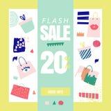 Verkaufsfahnenschablone Rabatt-Plakat, Promo-Webdesign mit Geschenken Fördernder Mode-Hintergrund für Plakat, Flieger stock abbildung