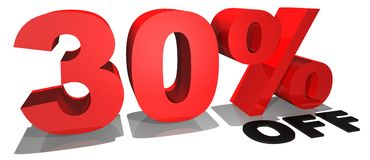 Verkaufsförderungstext 30% weg Stockfotografie
