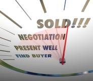 Verkaufsgeschwindigkeitsmesser-Wörter verhandeln über den anwesenden Entdeckungs-Käufer, der Proc verkauft Stockbilder