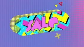 Verkaufsgraphik in der blauen Kapselform mit Mustern auf einem rosa Maschenhintergrund lizenzfreie abbildung