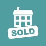 Verkaufshausikone Vector Illustration in der flachen Art auf lokalisiertem b Lizenzfreie Stockfotos