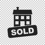 Verkaufshausikone Vector Illustration in der flachen Art auf lokalisiertem b Lizenzfreie Stockbilder