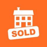 Verkaufshausikone Vector Illustration in der flachen Art auf orange BAC Stockfotografie