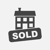 Verkaufshausikone Vector Illustration in der flachen Art auf Weißrückseite Lizenzfreies Stockfoto