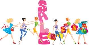 Verkaufskarikatur mit Gruppe lustigen Mädchen Lizenzfreie Stockfotos