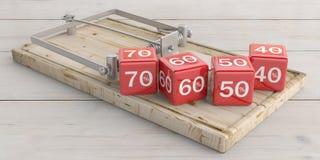Verkaufskonzept, rote Würfel der Skontoprozentsätze und eine Mäusefalle, Bretterbodenhintergrund Abbildung 3D Stockbilder