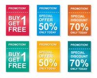 Verkaufskupon, Angebotförderungen, Rabattverkaufs-Vektorschablone Stockfoto