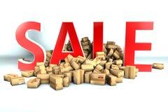 Verkaufslogo oder Beschriftung und tausend cardboxes Lizenzfreies Stockfoto