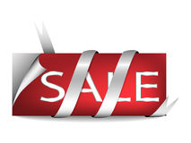 Verkaufsmarke mit silbernem Band Stockfotos