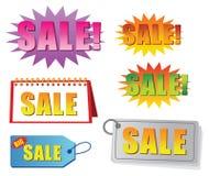 Verkaufsmarke und -kennsatz vektor abbildung