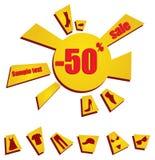 Verkaufsmarken, Sonnerabatt Lizenzfreies Stockbild