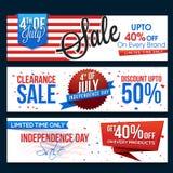 Verkaufsnetztitel oder -fahne für Juli 4. Stockfotos