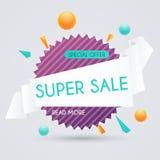Verkaufspapierfahne Verkauf und Rabatte Superverkauf und Special von Stockbilder