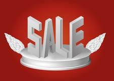Verkaufsplakat auf Podium mit Flügeln Auch im corel abgehobenen Betrag Lizenzfreies Stockbild
