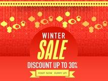 Verkaufsplakat, -fahne oder -flieger für Winterfeier Lizenzfreie Stockfotos