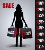 Verkaufsplakat mit Frauenschattenbild Lizenzfreie Stockfotos
