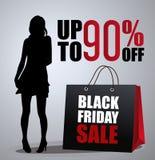 Verkaufsplakat mit Frauenschattenbild Lizenzfreie Stockfotografie