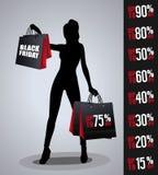 Verkaufsplakat mit Frauenschattenbild Stockfotografie