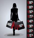 Verkaufsplakat mit Frauenschattenbild Stockbilder
