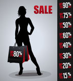 Verkaufsplakat mit Frauenschattenbild Stockfotos