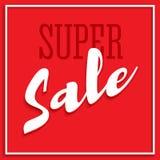 Verkaufsplakat mit Rahmen, volumetrischem Text und Schatten Freigabensuperverkaufsfahne auf rotem Hintergrund Verkauf und Rabatte Lizenzfreies Stockfoto