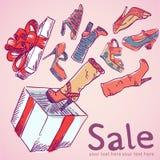 Verkaufspostkarte mit Schuhen, Kasten Lizenzfreie Stockfotos