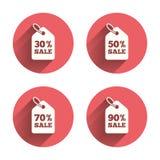 Verkaufspreistagikonen Rote Verkaufsnachrichten Lizenzfreies Stockbild