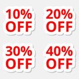 Verkaufsrabatt-Aufkleberikonen Sonderangebotpreiszeichen 10, 20, 30 und 40 Prozent heruntergesetzt Reduzierungssymbole lizenzfreie abbildung