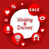 Verkaufsrabatt-Hochzeitskarte vektor abbildung