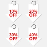Verkaufsrabatt-Pfeilikonen Sonderangebotpreiszeichen 10, 20, 30 und 40 Prozent heruntergesetzt Reduzierungssymbole Stockbild