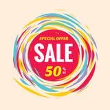 Verkaufsrabatt 50% weg von der kreativen Vektorfahne Sonderangebotzusammenfassungskreisplan und rote, gelbe und blaue Farben Bürs Lizenzfreie Stockbilder