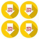 Verkaufsrabattikonen Sonderangebotpreiszeichen 10, 20, 30 und 40 Prozent heruntergesetzt Reduzierungssymbole Lizenzfreie Stockfotos