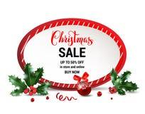 Verkaufsrahmen der frohen Weihnachten lizenzfreie abbildung
