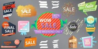 Verkaufssammlungsfahnen-Vektorillustration mit Aufschrift Se Stockbilder