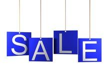 Verkaufstag auf blauen hängenden Aufklebern Stockbild