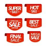 Verkaufstagaufkleber Sonderangebot, heißer Verkauf, Sonderverkauf, abschließender Verkauf, bester Verkauf, Mega- Verkaufsrabattfa Stockbilder