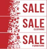 Verkaufstagfahne 3 stellt, alle, Kleidung, Möbel mit vielem Produkt, Satz 1 ein Stockbild
