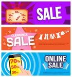 Verkaufstagfahne 3 stellt ein, heiß, Kleidung und Online-Verkauf Stockbild
