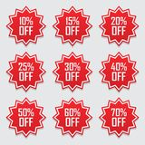 Verkaufstags begannen Vektorausweisschablone, 10, 15%, 20, 25, 30, 40, 50, 60, 70-Prozent-Verkaufsaufklebersymbole, die flache Ra Lizenzfreies Stockbild