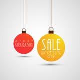 Verkaufstext auf hängendem Weihnachtsball für Weihnachtsfeier lizenzfreie abbildung