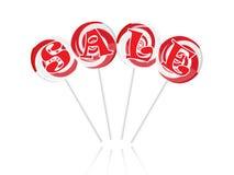 Verkaufstext mit süßen Lutschern Lizenzfreie Stockfotos