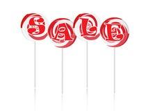 Verkaufstext mit süßen Lutschern Stockbilder