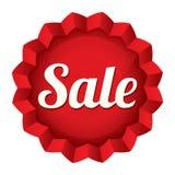 Verkaufsumbau. Roter runder Sternaufkleber des Vektors. Stockfoto